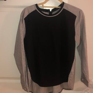 English factory blouse. Black front, striped back